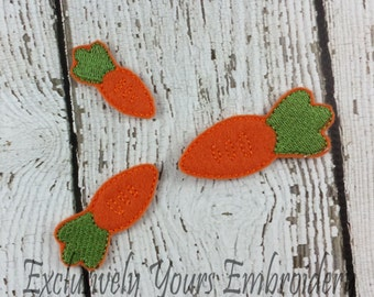 Carrot Feltie Set of 4 - Clippie Cover - Badge Reel Cover - Craft Supply - Scrapbooking - Card Making - Planner Clip