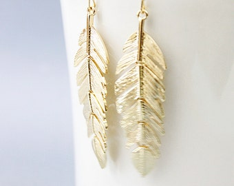 Gold Stylish feather Earrings  Delicate Dangle Earrings . Bridesmaid Gift  Bridesmaid Earrings Birthday Gift