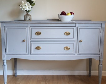 SOLD   Gray 1940's sideboard buffet!