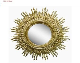 "10% Off Sale! Large 48"" Vintage Mid Century Modern Hollywood Regency Wavy Gold Gilt Sunburst Flame Wall Mirror"