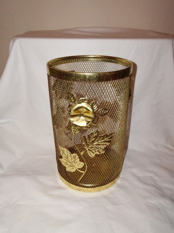 Vintage brass filigree gold flower waste basket by for Gold bathroom wastebasket