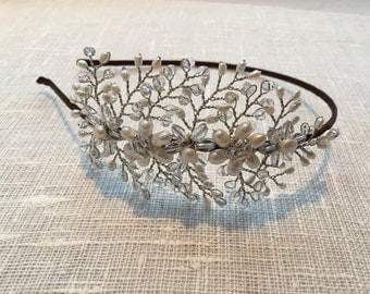 Fresh water pearl bridal tiara