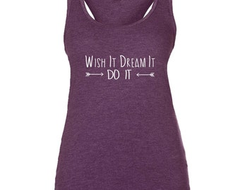 Supersoft Triblend Women's Yoga Wish It Dream It Do it with Arrows Racerback Tank Top Vest.