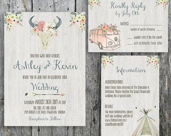 Boho Wedding Invitation Suite with Bull, Flowers, Teepee and Bus -  Invitation, RSVP and Information Card