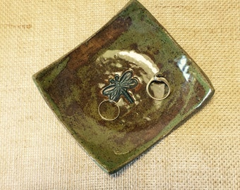 Dragonfly Pottery Stoneware Multipurpose,Ring Jewelry Dish, teabag holder, Bread oil dipping dish