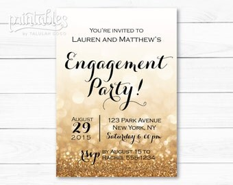 Engagement Party Invitation Printable, Black and Gold Engagement Invitation Template, Sparkle Engagement Invites, Glitter Engagement Invite