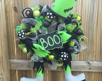 Frankenstein wreath, Monster decor, Halloween decor