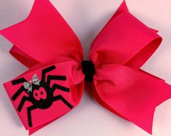 Spider hair bow / hair bow / fall hair bow / halloween hair bow / you pick color