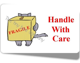 65 x Handle With Care Mini Stickers