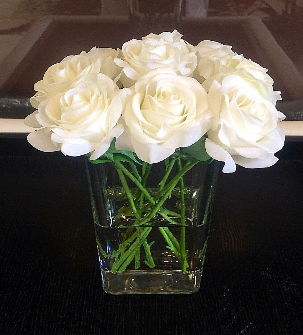 Real touch rose centerpiece white floral by flaural