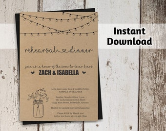 Printable Rehearsal Dinner Invitation Template - Luncheon - Rustic Mason Jar - Kraft Paper - DIY 4x6 5x7 PDF Instant Download Digital File