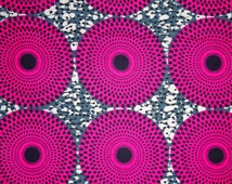 Pink and grey African fabric by the Yard record Ankara fabric African Fabric Shop  African Textile  African Supplies for dress skirt headtie