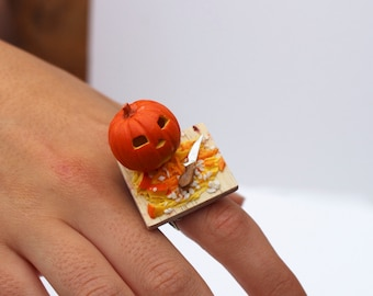 jack o' lantern ring halloween ring carved pumpkin ring pumpkin ring goth ring fancy dress ring gothic jewellery halloween accessory