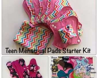 6 Teen Cloth Menstrual Pads Set: Washable, 6-9 Pads and Free Rag Bag! Zorb Used; Regular and Pantiliner Sizes Included! Super Soft, Comfy!