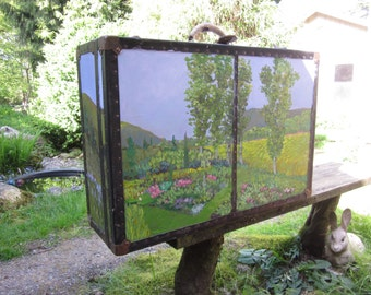 Painted antique trunk, the quilt box.