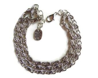 Chain bracelet, chunky bracelet, layered bracelet, multistrand bracelet, multichain bracelet, steel bracelet, nickel free bracelet, handmade