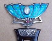 Art Nouveau Hair Comb Blue Enamel and Pearl Wings Motif Hair Accessory Hair Jewelry Hair Ornament Headdress Headpiece Hairpin