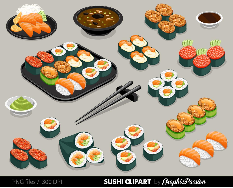 Sushi Set Clipart Food clipart Japan food clipart Sushi