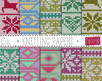 "Fabric digital paper : ""Knitting Papers"" Christmas sweater digital paper / winter knits, winter sweater patterns / knitting digital paper"