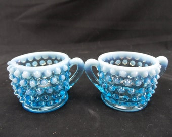 Vintage Fenton Glass Blue Opalescent Creamer and Sugar Set