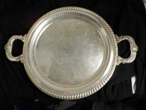 Silver Tray-Sheridan Silver Plate Two Handle Serving Tray-B.F.H.S 1954 Championship John Tutt Portage-Tutt Estate