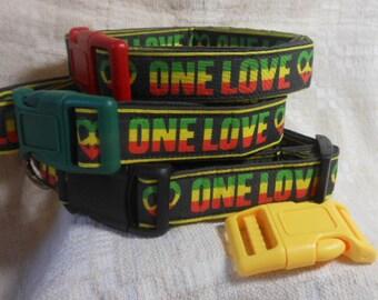 Rasta Dog Collar / One Love One Heart /  Reggae Dog Collar / Rastafarian / Bob Marley dog / Rasta Gift / Cool Dog Collar / Unique Dog Collar