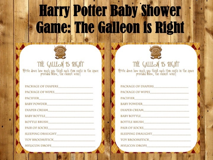 Harry Potter Baby Shower Game The Price Is Right Baby Shower