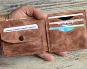 Leather wallet Men's wallet Handmade gift Custom leather wallet Personalized wallet Wallet with coins pocket