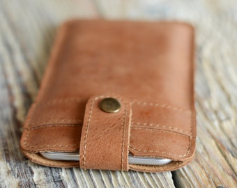 Leather iPhone 6 case iPhone 6 Plus sleeve Snap button phone case iPhone 6 leather pouch iPhone 7 sleeve