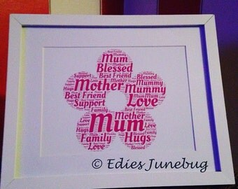 Pink Flower Typography, Framed Word Cloud, Handmade Gifts For Mum, Birthday,
