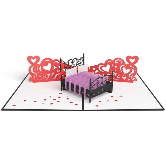 Amour lit Pop-Up Card, carte de lit d