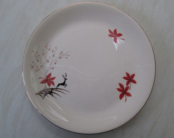 Alfred Meakin 10 inch dinner plate in the red Stag deer design