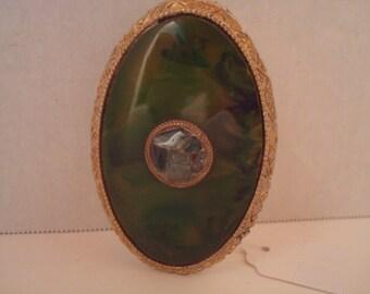 Vintage Schildkraut green marbled jadeite (?) lipstick case