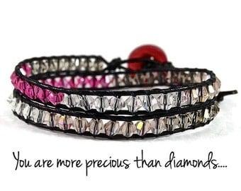 Pink Austrian Crystal Bead Wrap Bracelet, Leather Wrap Bracelet, Blessed Bracelet, Blessed Jewelry, Christian Bracelet, Christian Jewelry
