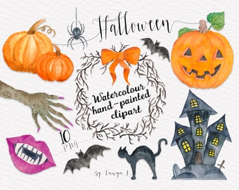 Halloween Clipart, Watercolor Clip Art , Autumn Clipart, Commercial Use Clipart,  Hand-painted Clipart,Pumpkin,Holidays