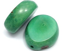1 Tagua disc bead large, aqua, 30-50mm, 1 piece, Pearl, pendants, disc, oval, thick, slice natural bead, pendant,