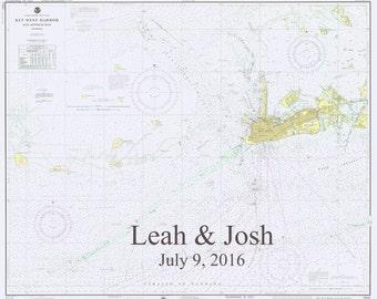 Key West Map 1975 - approaches to Key West - Wedding Edition (Leah & Josh)