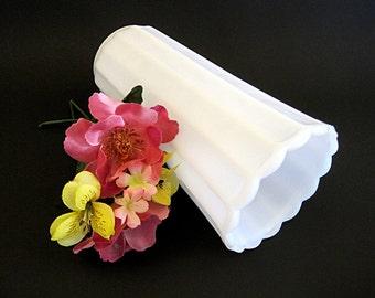 Vintage Tall Milk Glass Vase Ribbed Scalloped Edge White Wedding Decor