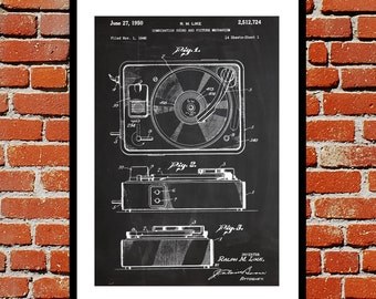 Record Player Patent, Record Player Poster, Record Player Blueprint,  Record Player Print, Record Player Art, Record Player Decor