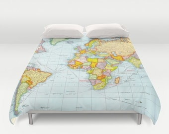 World map duvet cover, vintage map duvet cover, geography duvet cover