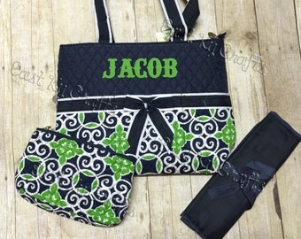 Custom  Monogrammed Quilted Navy and Green Diaper Bag