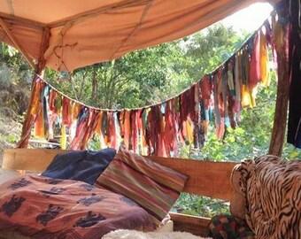 Bohemian Gypsy Rainbow Bunting Rag Curtains. One of a Kind.