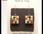 Mosaic Art Earrings, Mosaic Jewelry, Mosaic Art, Copper Earrings, Ceramic Tiles