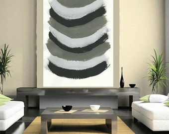 Black White Gray painting Large Abstract , Acrylic Painting Minimalist Art, Abstract Painting Canvas, Modern Contemporary Jerry Titan