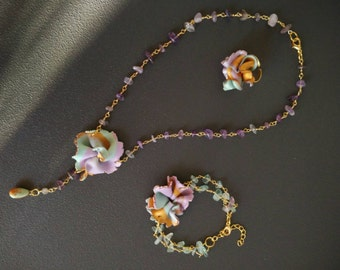 """Flower necklace Amethyst necklace lariat flowers amethyst collection """"Spring"""""""
