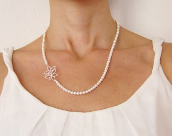 Swarovski Pearl Necklace, Floral Charm Necklace, Wedding necklace