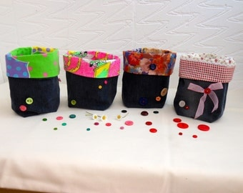 Denim fabric storage boxes, make up baskets, recycled storage bins, ethical display baskets, bedroom buttoned boxes