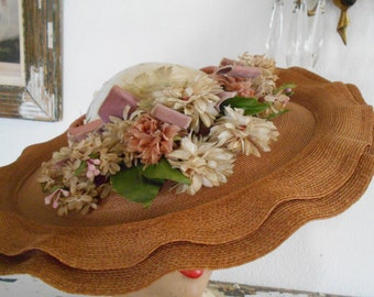 Awesome 1940's Faux Straw Open Crown Wide Brimmed Hat with Flowers