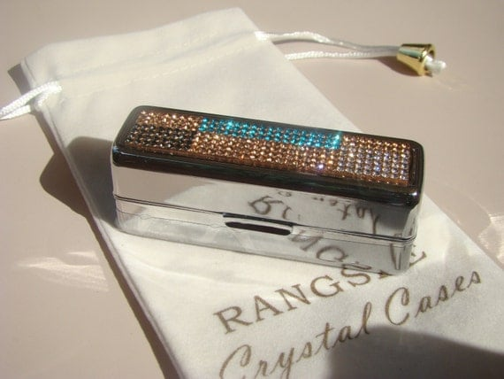 Lipstick Case with Mirror, Lipstick Box,  with Rose Gold Abstract Art 4 Crystals, Silk/Velvet bag incluede. Genuine Rangess Crystal Cases