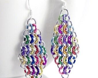 Rainbow Mesh Earrings, Mosaic Chainmaille, Diamond Shaped Earring, Boho Hippie Earrings, Festival Jewelry, Funky Unique Earrings